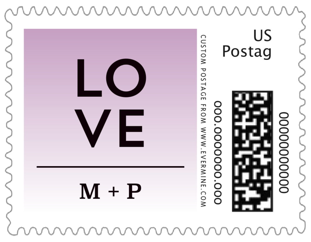 small custom postage stamps - lilac - ombre sunset (set of 20)