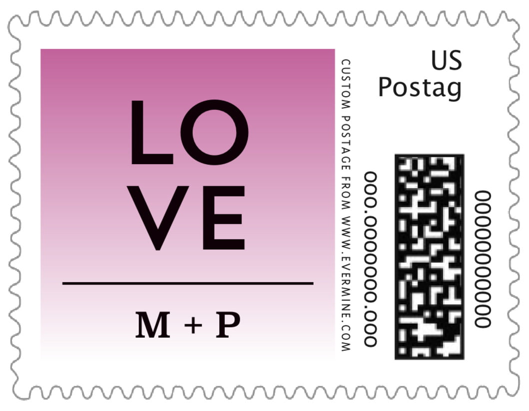 small custom postage stamps - radiant orchid - ombre sunset (set of 20)