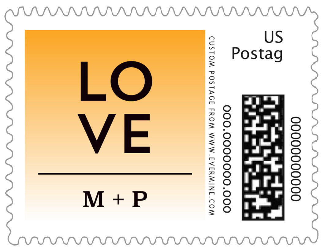 small custom postage stamps - orange - ombre sunset (set of 20)