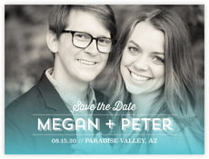 Ombre Sunset Save The Date Card In Turquoise