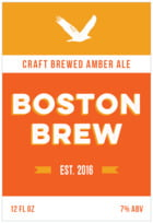 Boston Brew Tall Rectangle Label In Carrot