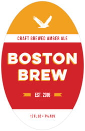 Boston Brew tall oval labels