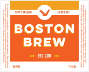 Boston Brew Large Wide Label In Carrot