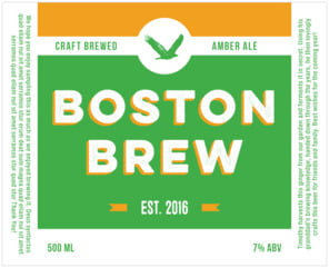 Boston Brew large wide labels