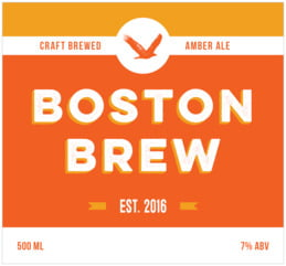 Boston Brew Large Rectangle Label In Carrot