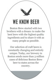 Boston Brew oval text labels