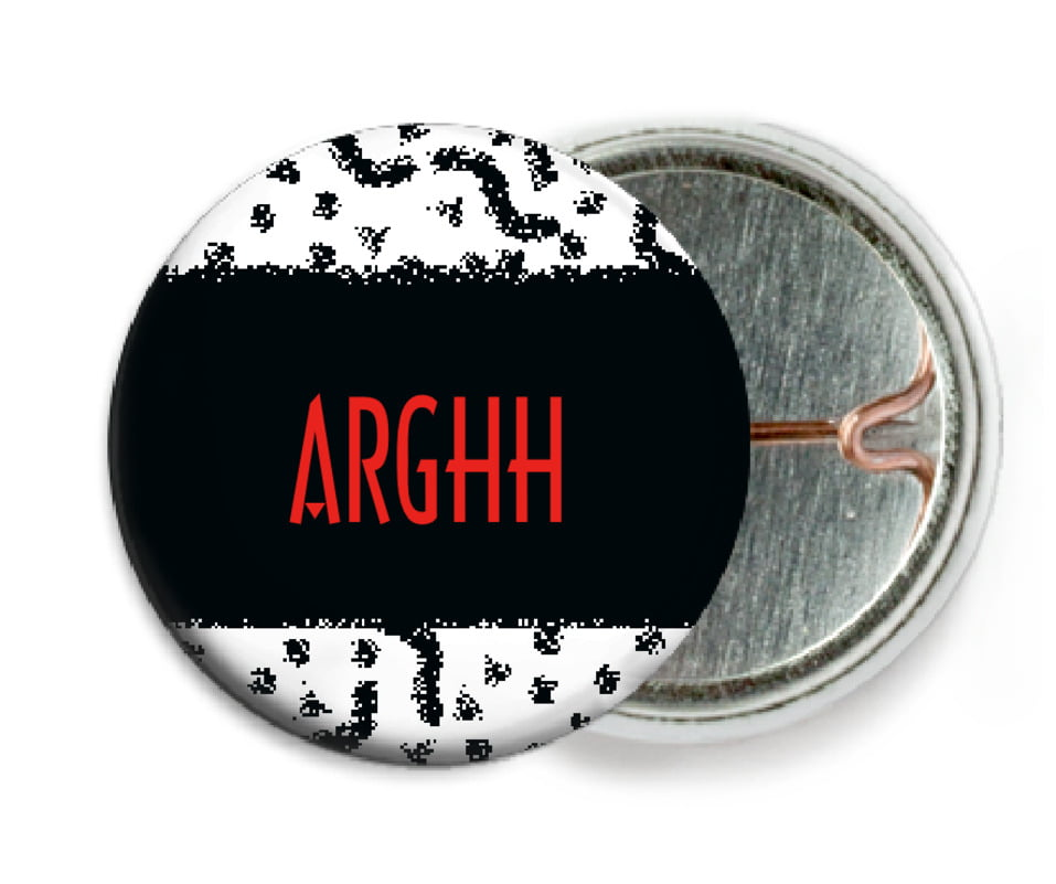 custom pin back buttons - black - party (set of 6)