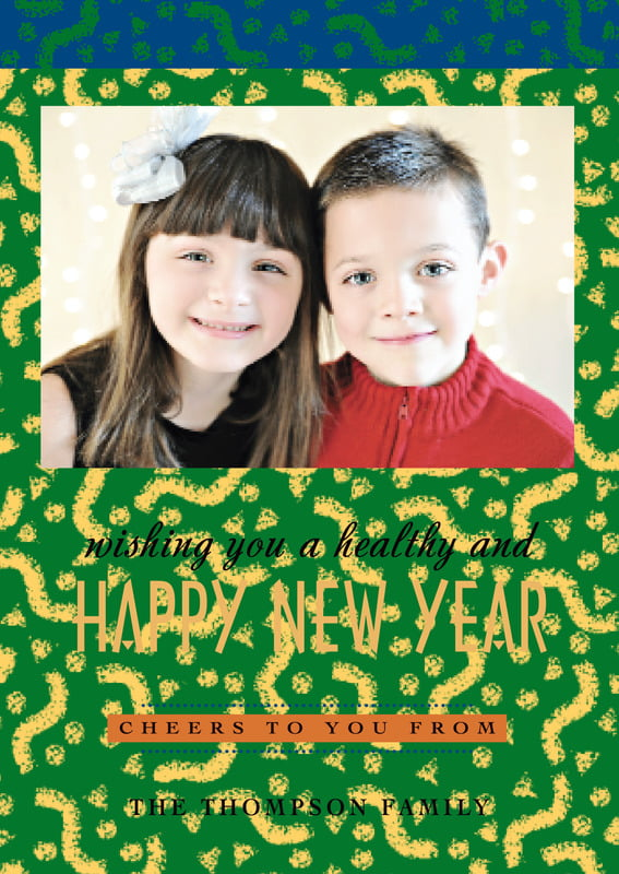 holiday cards - green - party (set of 10)