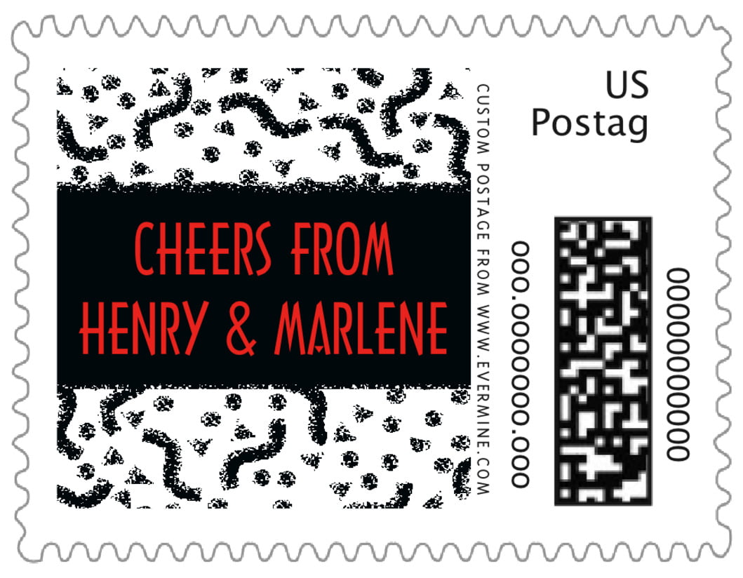 small custom postage stamps - black - party (set of 20)