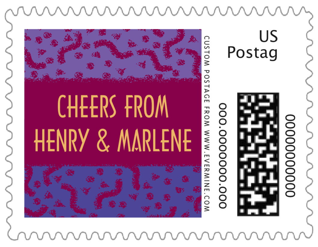 small custom postage stamps - burgundy - party (set of 20)