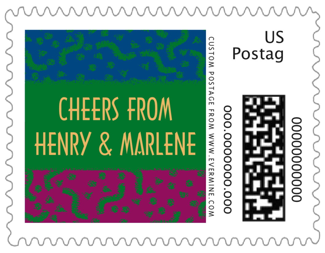 small custom postage stamps - green - party (set of 20)