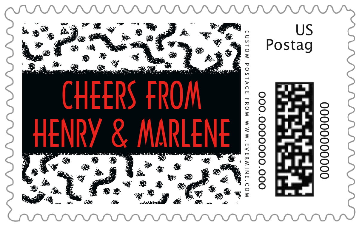 custom large postage stamps - black - party (set of 20)