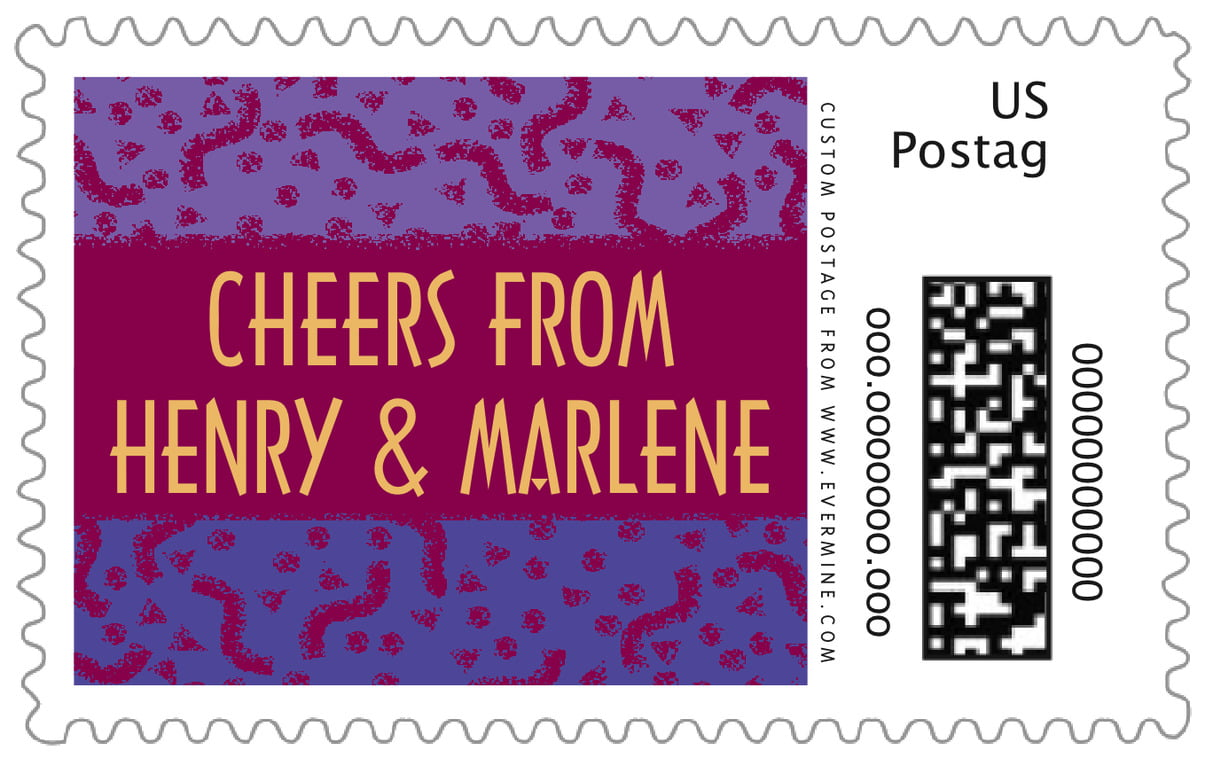 custom large postage stamps - burgundy - party (set of 20)