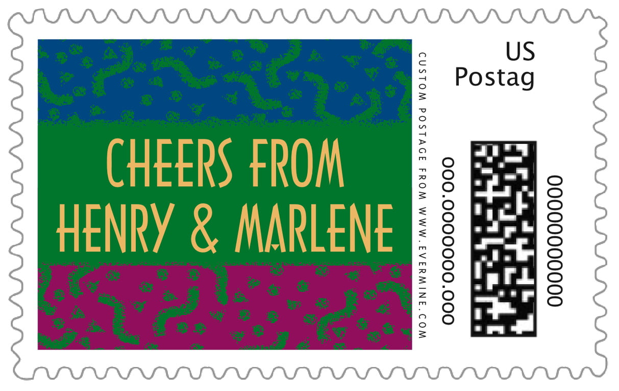 custom large postage stamps - green - party (set of 20)