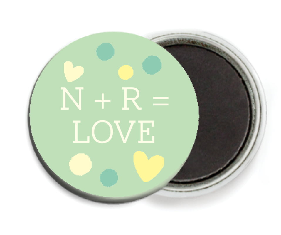 custom button magnets - mint - polka dots (set of 6)