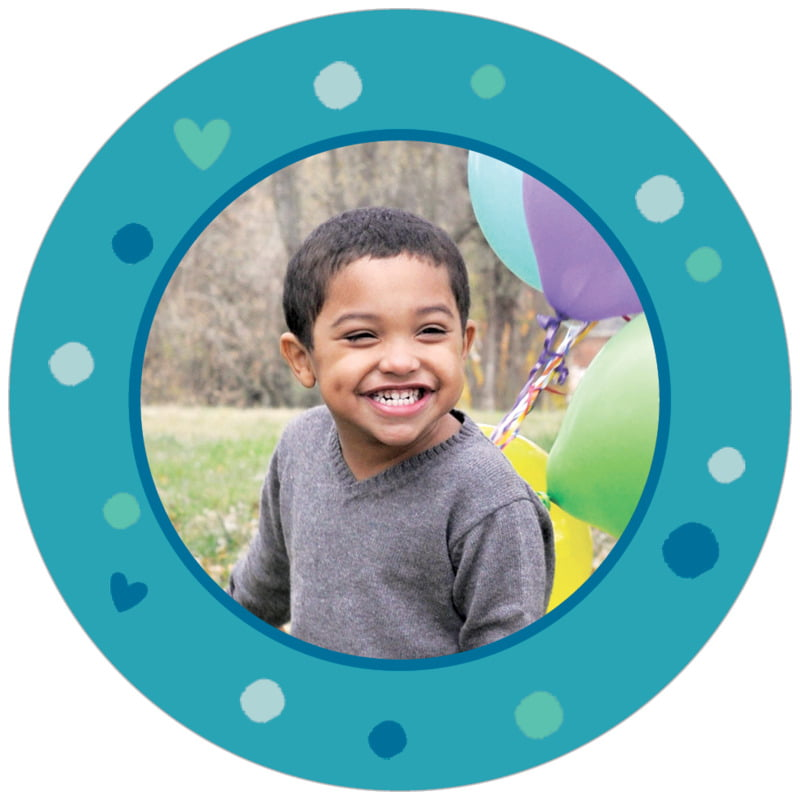 circle photo labels - blue - polka dots (set of 20)