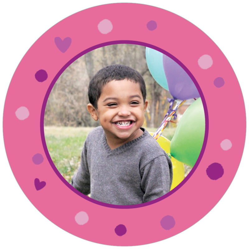 circle photo labels - bright pink - polka dots (set of 20)