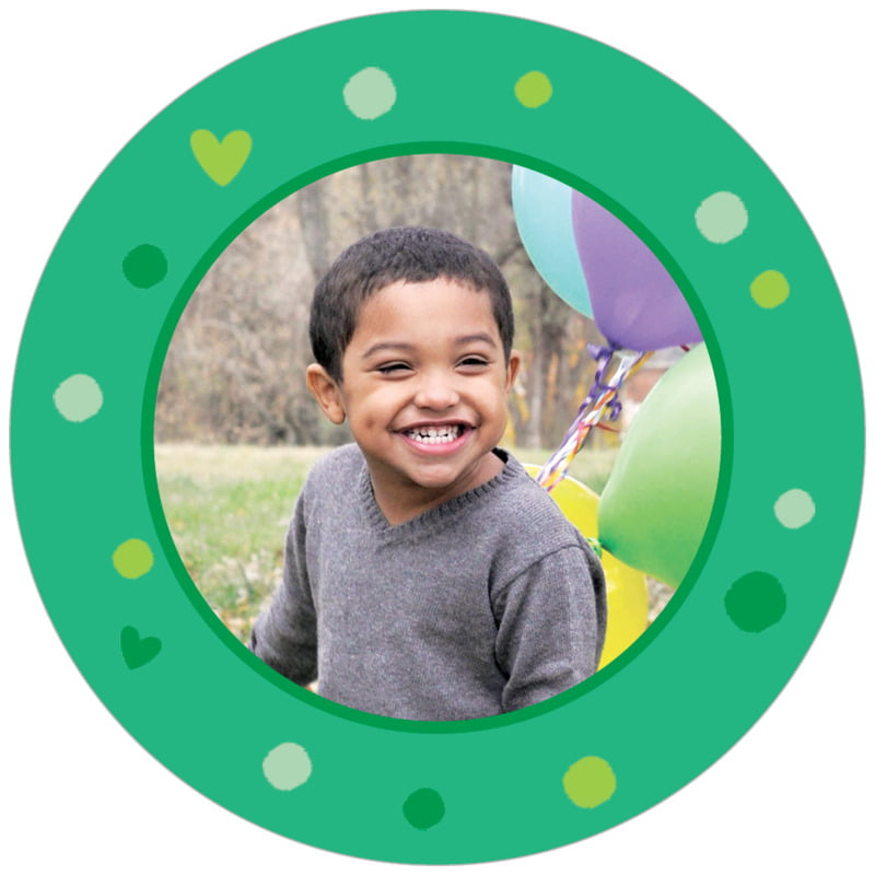 circle photo labels - kelly green - polka dots (set of 20)