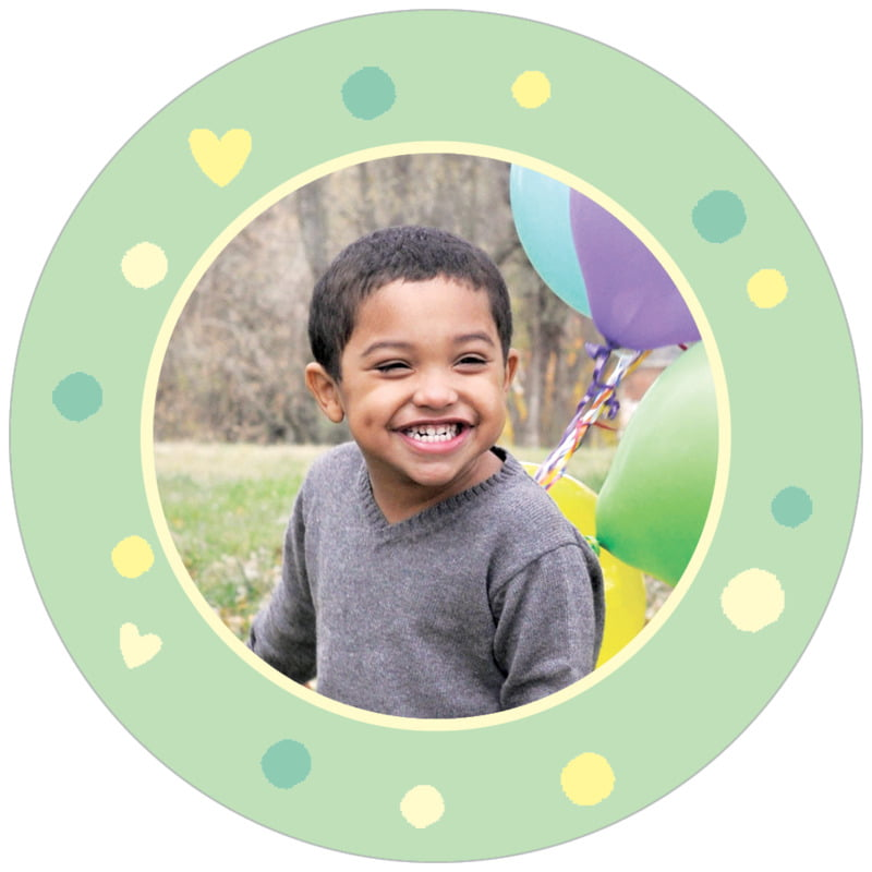 circle photo labels - mint - polka dots (set of 20)