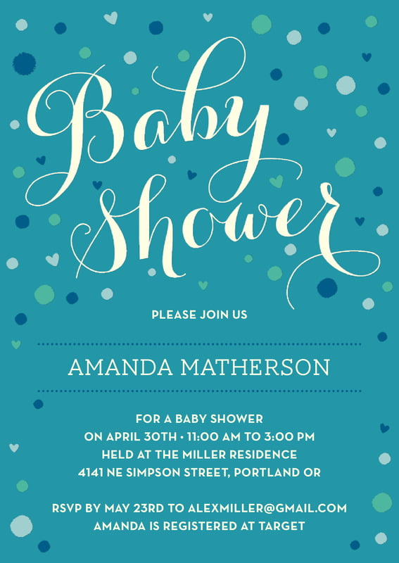 baby shower invitations - blue - polka dots (set of 10)