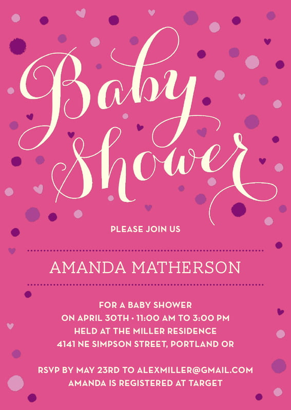 baby shower invitations - bright pink - polka dots (set of 10)