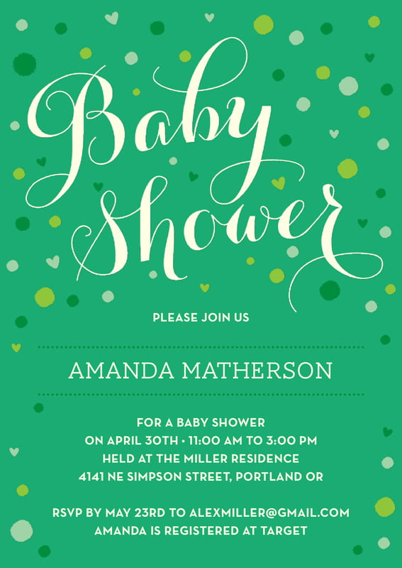 baby shower invitations - kelly green - polka dots (set of 10)