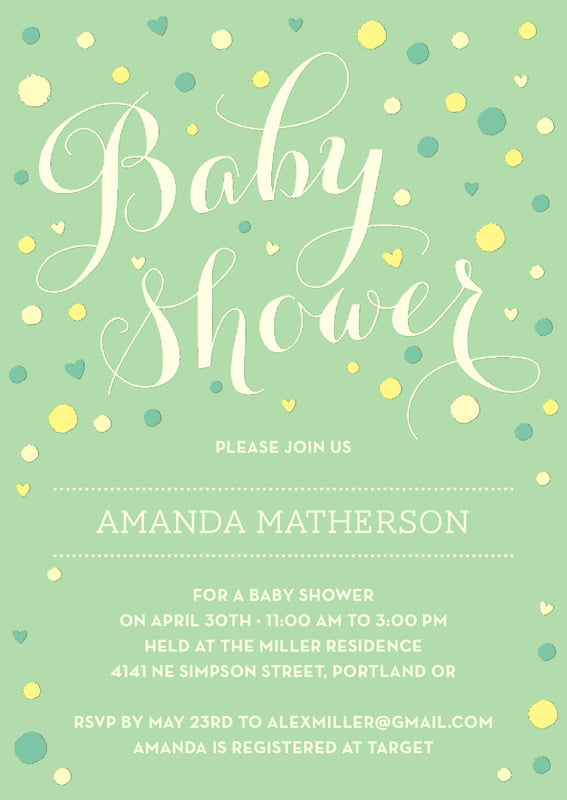 baby shower invitations - mint - polka dots (set of 10)
