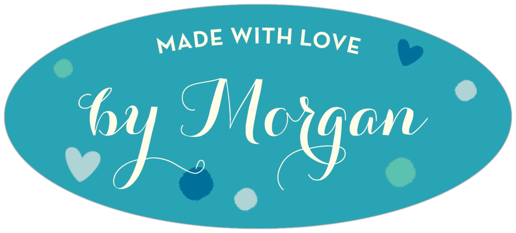 oval food/craft labels - blue - polka dots (set of 30)