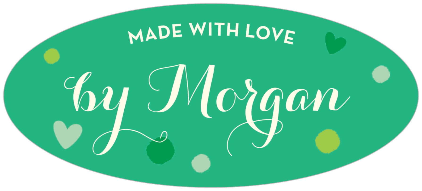oval food/craft labels - kelly green - polka dots (set of 30)