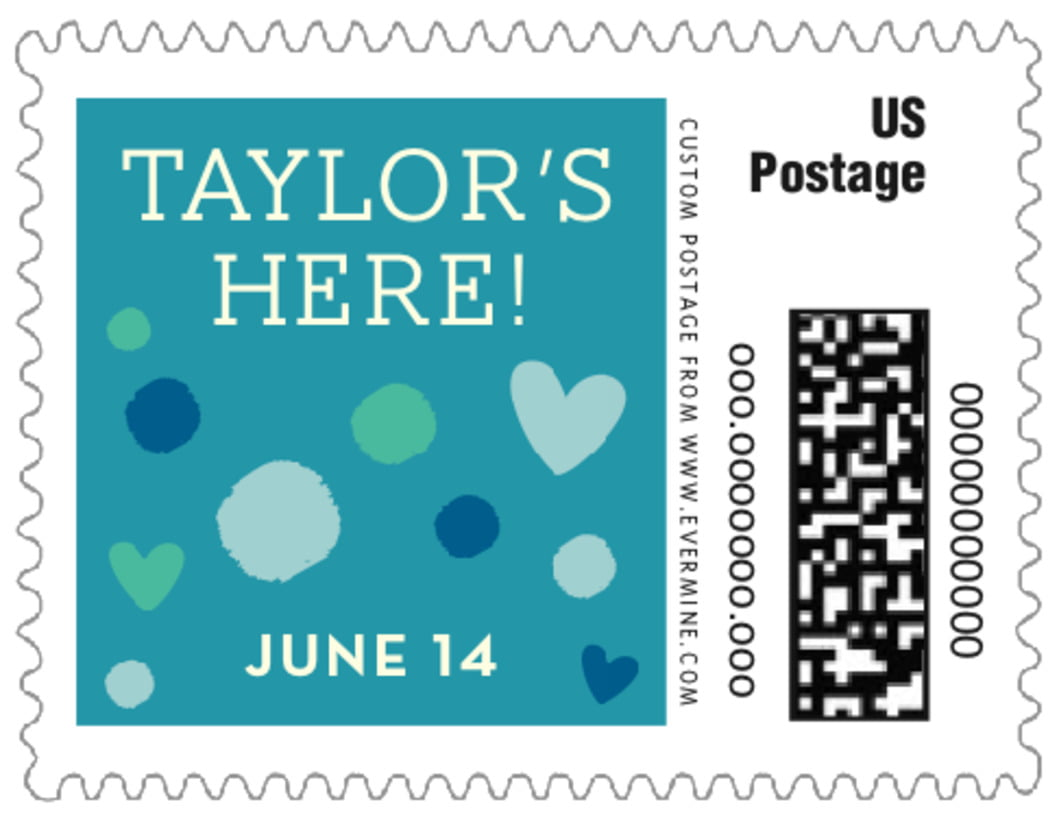 small custom postage stamps - blue - polka dots (set of 20)