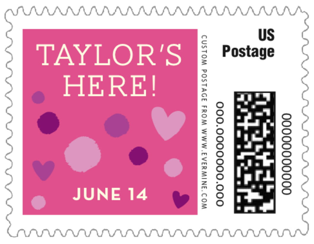 small custom postage stamps - bright pink - polka dots (set of 20)