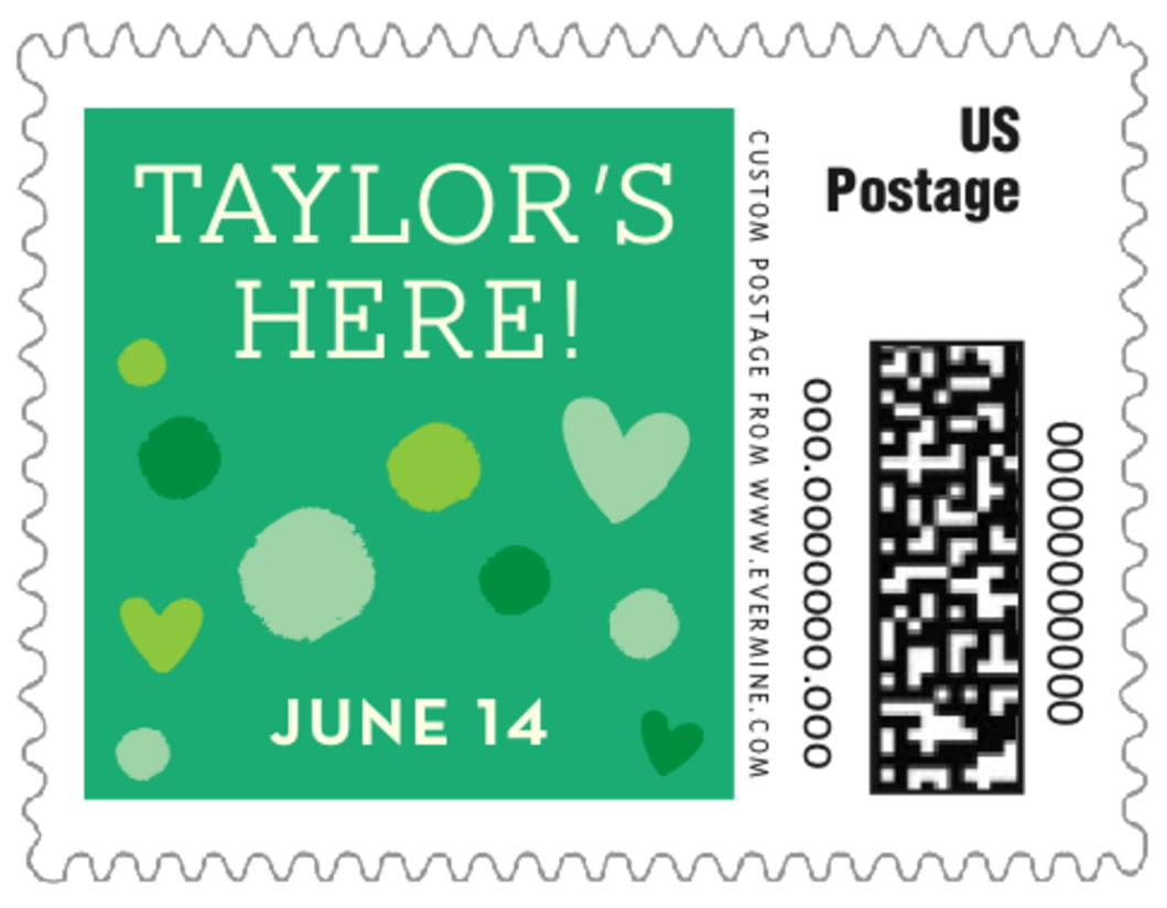 small custom postage stamps - kelly green - polka dots (set of 20)