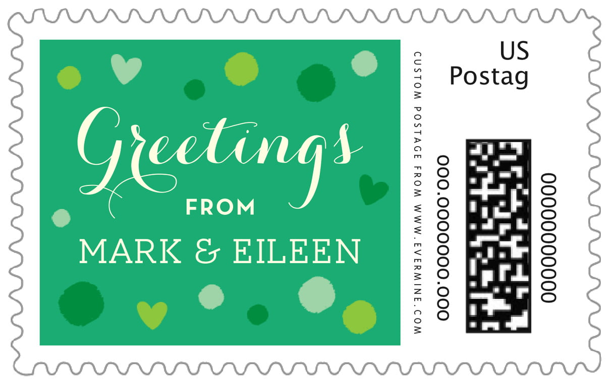 custom large postage stamps - kelly green - polka dots (set of 20)