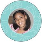 Persimmon Flower circle photo labels