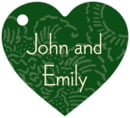 Persimmon Flower heart hang tags