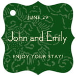 Persimmon Flower fancy square tags