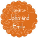 Persimmon Flower scallop labels