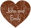 Persimmon Flower heart labels