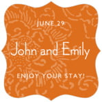 Persimmon Flower fancy square labels