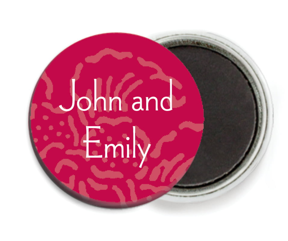 custom button magnets - deep red - persimmon flower (set of 6)