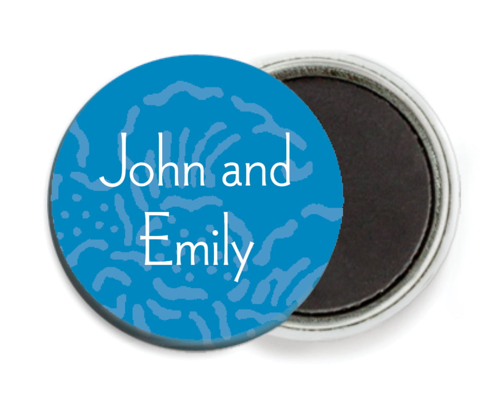 custom button magnets - blue - persimmon flower (set of 6)