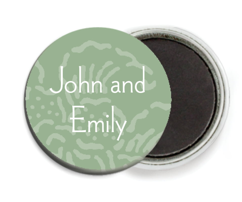 custom button magnets - sage - persimmon flower (set of 6)