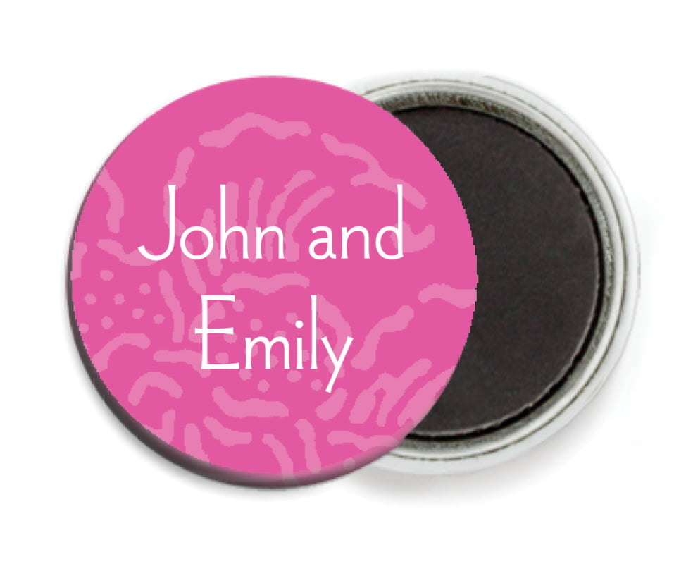 custom button magnets - bright pink - persimmon flower (set of 6)