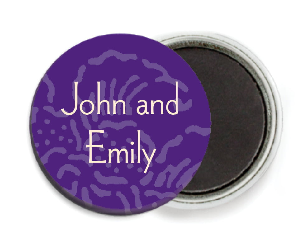 custom button magnets - purple - persimmon flower (set of 6)