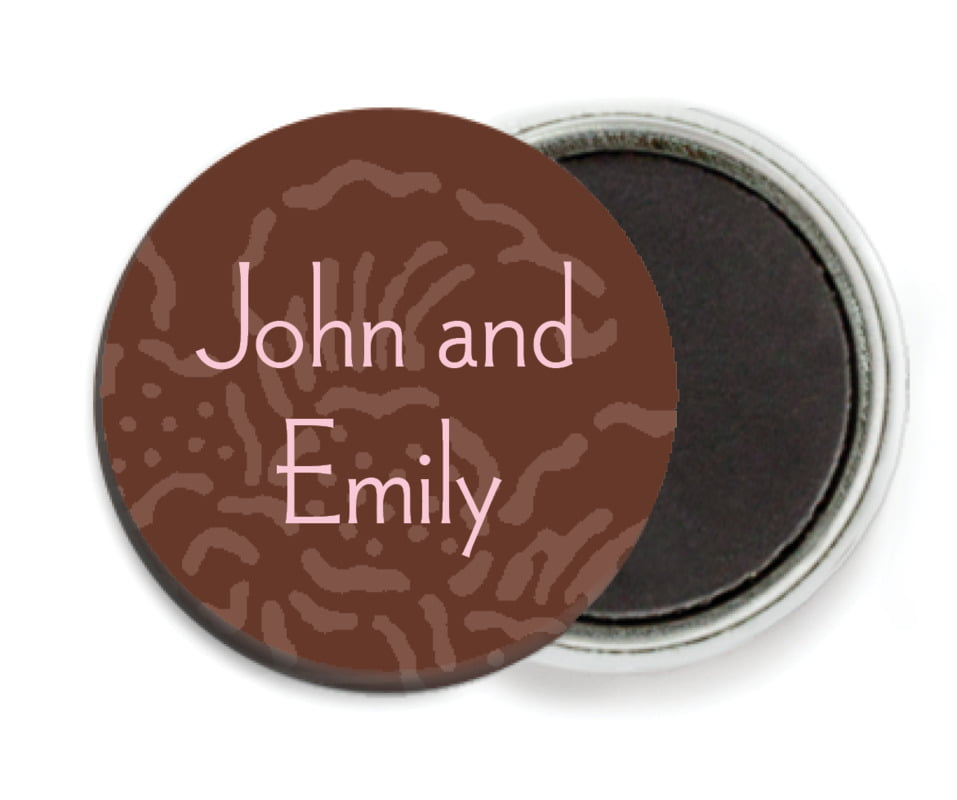 custom button magnets - cocoa & pink - persimmon flower (set of 6)