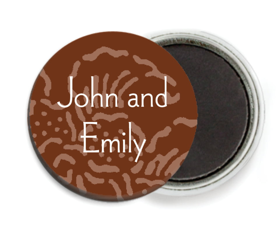 custom button magnets - chocolate - persimmon flower (set of 6)