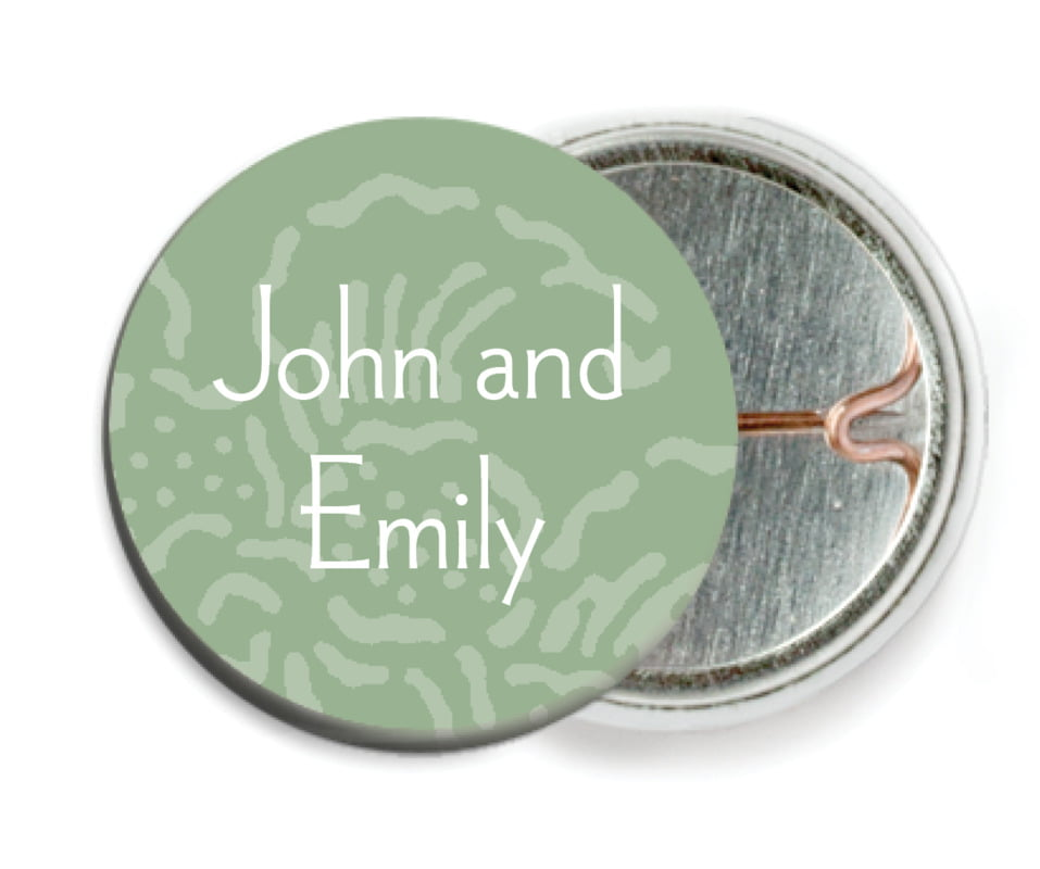 custom pin back buttons - sage - persimmon flower (set of 6)