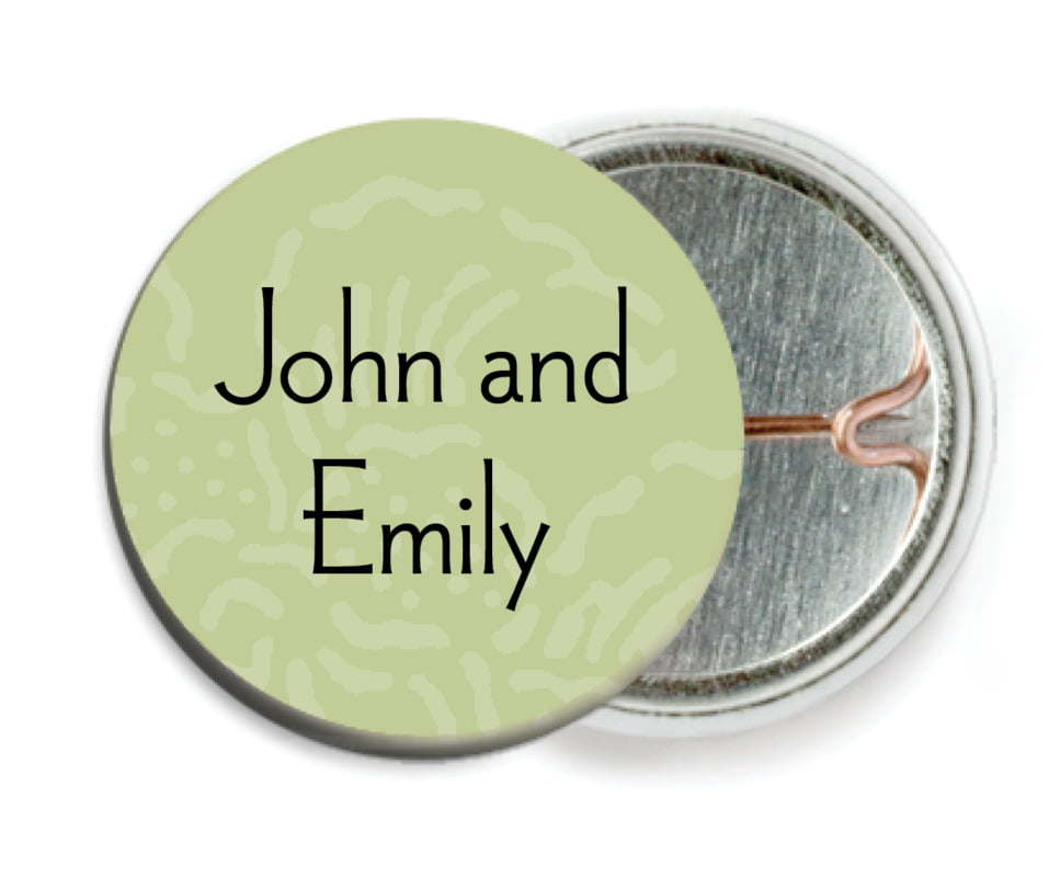 custom pin back buttons - green tea - persimmon flower (set of 6)