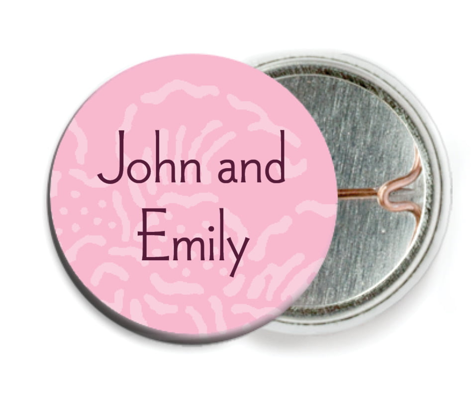 custom pin back buttons - pale pink - persimmon flower (set of 6)