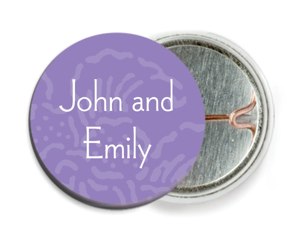 custom pin back buttons - lilac - persimmon flower (set of 6)
